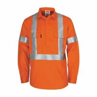 "PATRON SAINT FLAME RETARDANT ARC RATED CLOSED FRONT SHIRT WITH ""X"" BACK 3M F/R R/TAPE - L/S"
