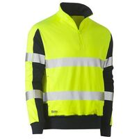 TAPED HI VIS STRETCHY FLEECE ZIP PULLOVER