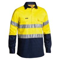 3M TAPED CLOSED FRONT HI VIS DRILL SHIRT LONG SLEEVE