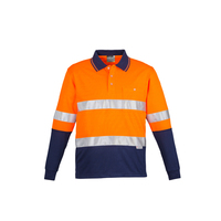 MENS HI VIS SPLICED HOOP TAPED LONG SLEEVE POLO