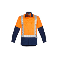 MENS HI VIS SPLICED INDUSTRIAL SHOULDER TAPED LONG SLEEVE SHIRT
